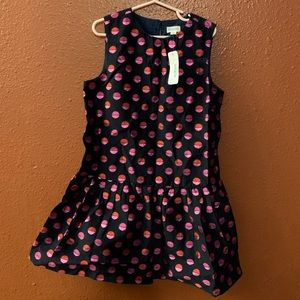 Gymboree Girls Dress size 7 Navy w red & pink dots